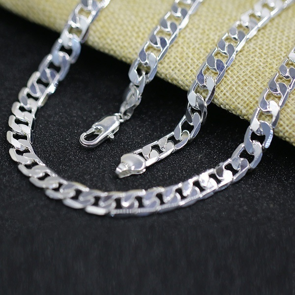 LJ&OMR  100% Authentic  925 sterling silver necklace, silver fashion jewelry Link Chain necklace for men (  Size: 8MM 16-24 )LJ&OMR  100% Authentic  925 sterling silver necklace, silver fashion jewelry Link Chain necklace for men (  Size: 8MM 16-24 )