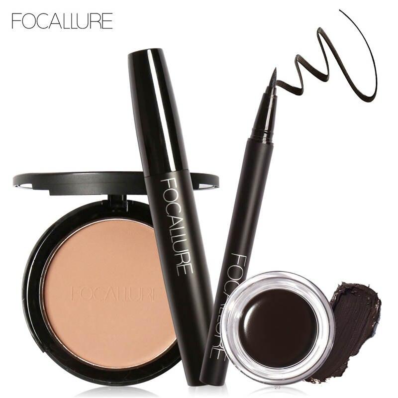 FOCALLURE 4Pcs Pro Makeup Set Black Mascara Eyeliner Fashion 5 colors Brows Gel Cream with Face Powder Beauty Makeup