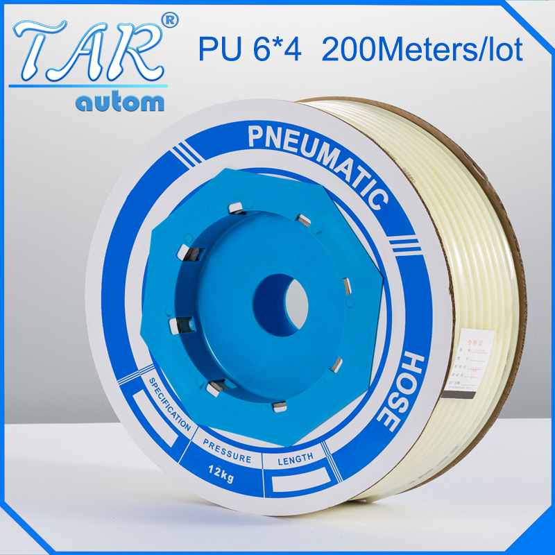 PU Air Pipe Tube Pneumatic Hose OD 6mm x4mm ID For Pneumatics 200M white free shipping high quality 5meter 4mm od pu tubing 2 5mm id blue color for pneumatics air hose tube
