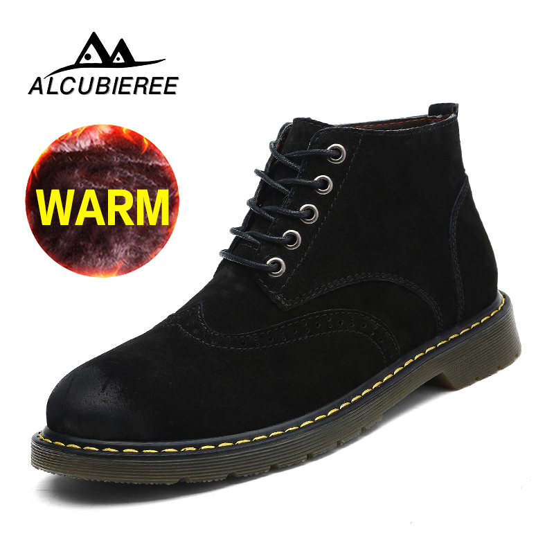 Super Warm Men Boots Winter Leather Boots Waterproof Rubber Snow Boots With Fur England Retro Ankle Boots for Men Winter Shoes new men winter boots plush genuine leather men cowboy waterproof ankle shoes men snow boots warm waterproof rubber men boots page 10