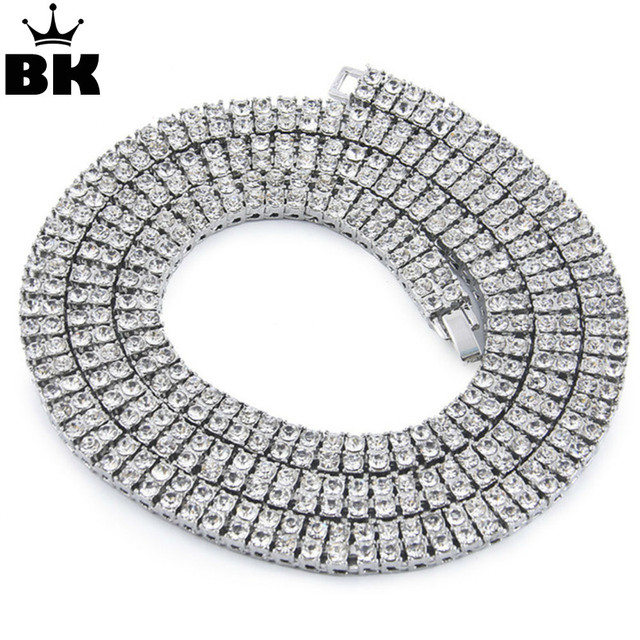 Men s Women s On Black 2 Row Crystal 30 Inch Tennis Chain Necklace 8mm men  hip hop jewelry 5392978f9