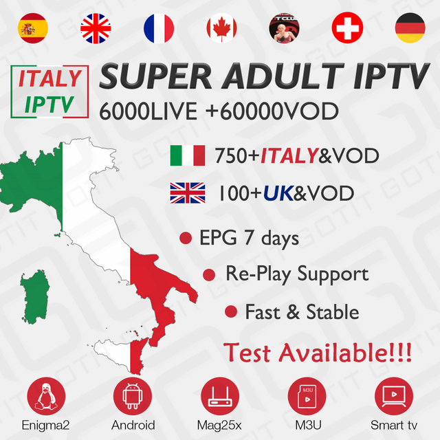 GOTiT włochy subskrypcja IPTV dla wielkiej brytanii niemcy Albania polska francuski szwajcarski IPTV Europa dla dorosłych XXX dla systemu Android M3U Enigma2 TVIP MAG