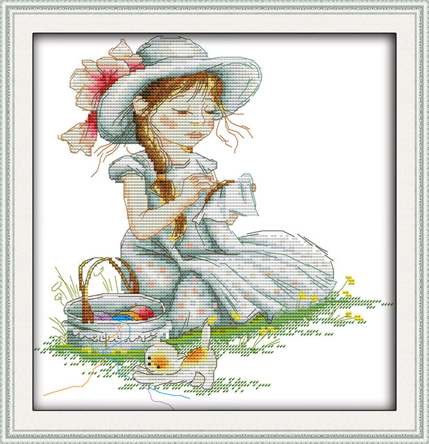 Alegre Domingo estilo de dibujos animados chica bordado contados ...