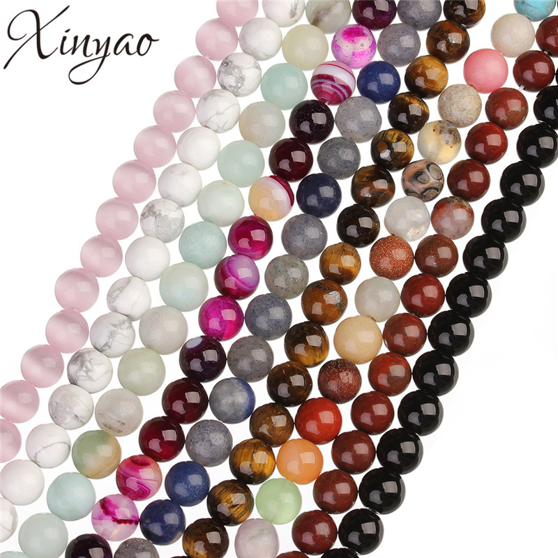 XINYAO 4 6 8 10 mm Natural Stone Beads Round Tiger Eyes Agates Created Rose Quartzs Opals Beads For Jewelry Making 40cm/Strand
