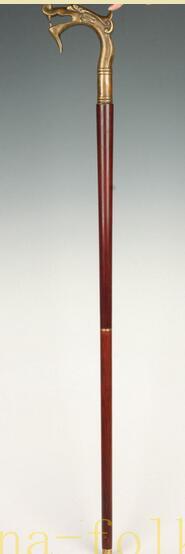 Laiton pur cuivre laiton grand-père bon chanceux UNIQUE haut DRAGON STATUE béquilles bâton de marche canne cadeau asiatique recueillir