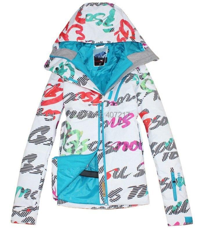 Prix pour 2014 gsou neige femmes ski veste dames lettre gribouillage snowboard vestes imperméable ski veste pour femmes anorak vêtements de ski