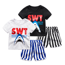 Boy cartoon short sleeved suit 2017 new children half sleeve shirt striped Shorts Set summer baby two pieces