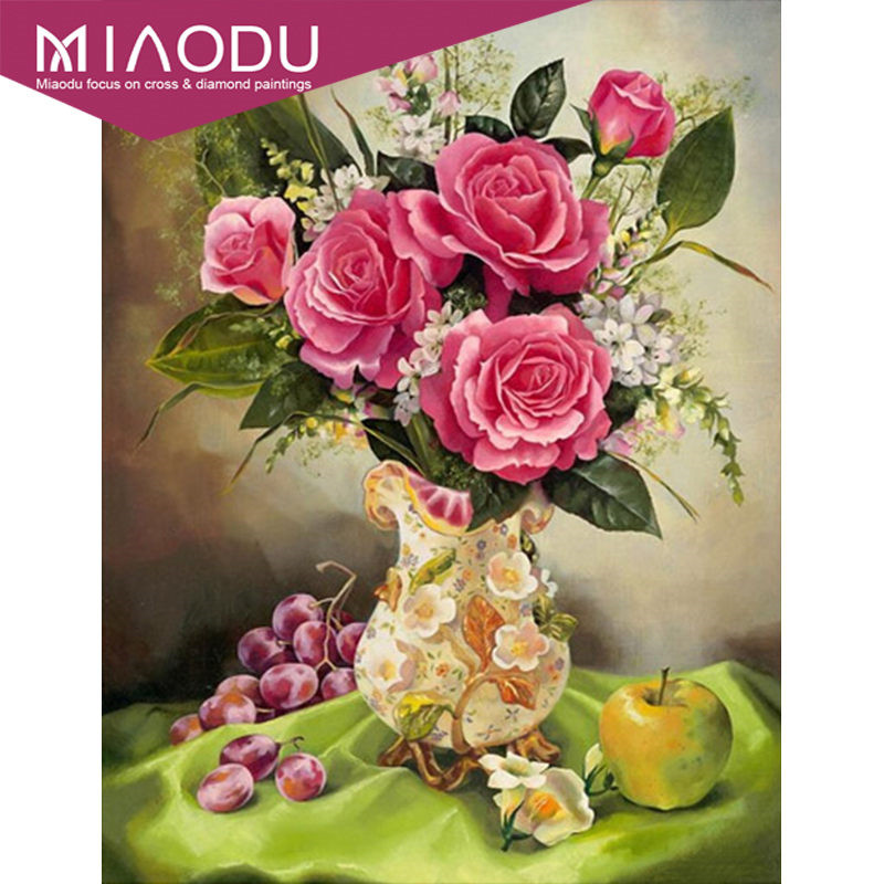 Miaodu 5D DIY Diamond Painting Flowers Rhinestones Full Square Diamond Embroidery Vase Cross Stitch Mosaic Home Decor Colorful