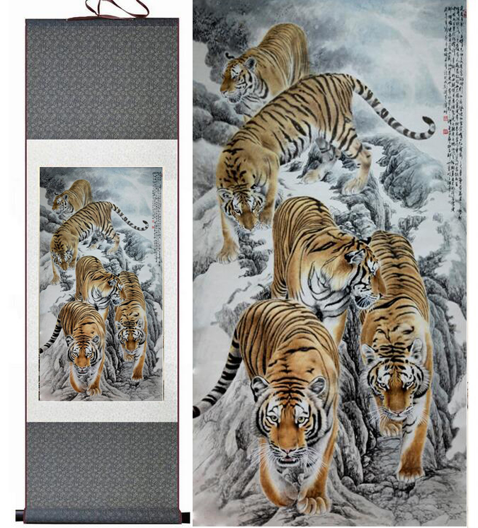 Decor seidentuschemalerei aquarell Traditionellen chinesischen wand bild tiger unten berg feng shui damast bild gerahmt scroll malerei