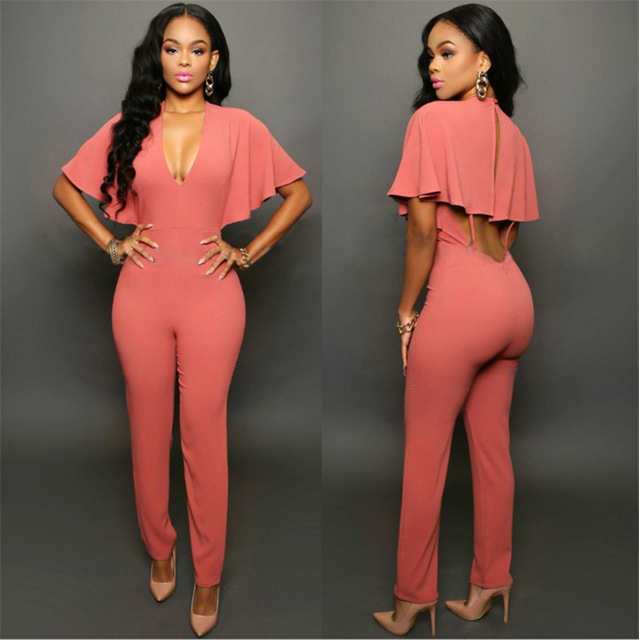 ad9aaf3323 2016 Fashion Casual Sexy Cleavage Women Bodysuit Loose Large Size Halter  Long Pants Jumpsuit Rompers With Zipper LT0004