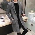 2016 homens caem casaco no inverno longo casaco de lã grossa de lã casaco casaco de homem vestido de moda.