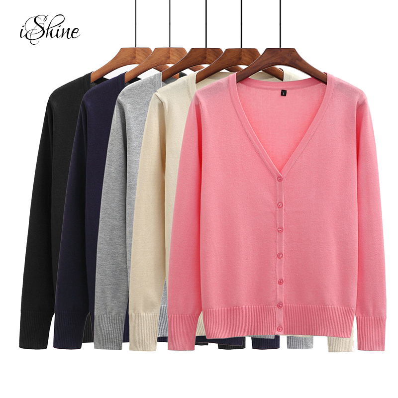 iSHINE Women Long Sleeve Knitted Female Sweater Cardigans