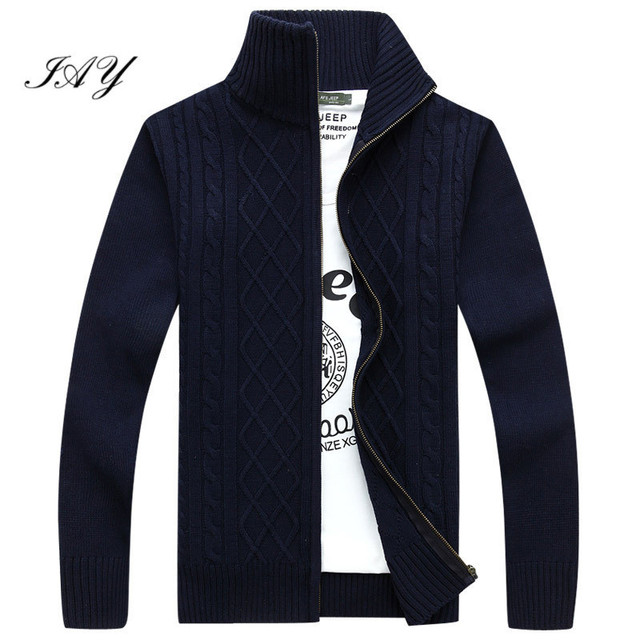 2016 NewAutumn Spring Solid color Long Sleeve Stand Collar cotton Men Cardigan High Quality Knited Twisted Knitwear Man Sweater