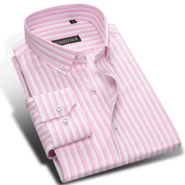 Men 39 s pink white vertical striped dress shirts long sleeve for Mens red and white striped dress shirt