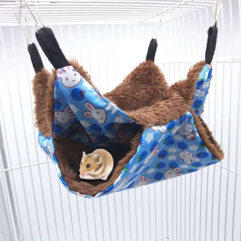 Warm Double Layer Hamster Hanging House Hammock Cage Pet Soft Plush Winter Nest Sleeping Bed Small Pets Squirrel Chinchilla C42