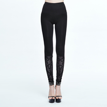 Devil Fashion New Arrive Punk Style Stretch Women Leggings Gothic Black Sexy Slim-Fitting Pants devil fashion women slim fit black ripped emo gothic punk denim pants with tears and belts vintage ladies steampunk damage jeans
