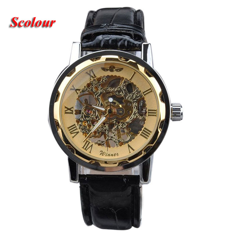 Military Leather Men's Classic Black Leather Gold Dial Skeleton relogio masculino Mechanical Sport Army Wrist Watch hot classic men s black leather dial skeleton mechanical sport army wrist watch new relogio masculino horloges mannen 6050310