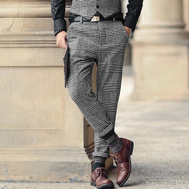 高品質の新メンズ冬 & 春スキニーパンツ男性無地ウールのスーツのズボンメンズビジネスフォーマルなカジュアルズボン K681 2