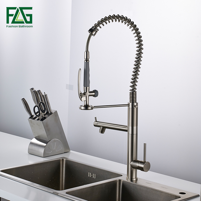 купить Pull out Kitchen faucet Sink mixer Faucet Deck Mount Pull Out Dual Sprayer Nozzle Hot Cold Mixer Water Taps по цене 8545.25 рублей