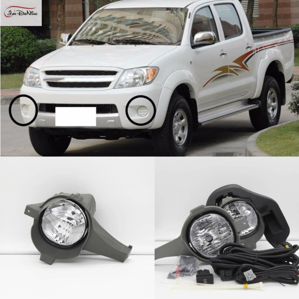 JanDeNing Car Fog Lights For TOYOTA HILUX VIGO 2005-2007 Clear Front Fog Lamp Cover Trim Replace Assembly kit (one Pair) for opel astra h gtc 2005 15 h11 wiring harness sockets wire connector switch 2 fog lights drl front bumper 5d lens led lamp