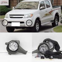 JanDeNing Car Fog Lights For TOYOTA HILUX VIGO 2005 2007 Clear Front Fog Lamp Cover Trim Replace Assembly kit (one Pair)