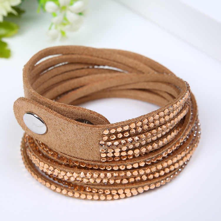 Free shipping Fashion 12 Layer Leather Rhinestone Bracelet! Charm Bracelets Bangles For Women Jewelry Christmas Gifts