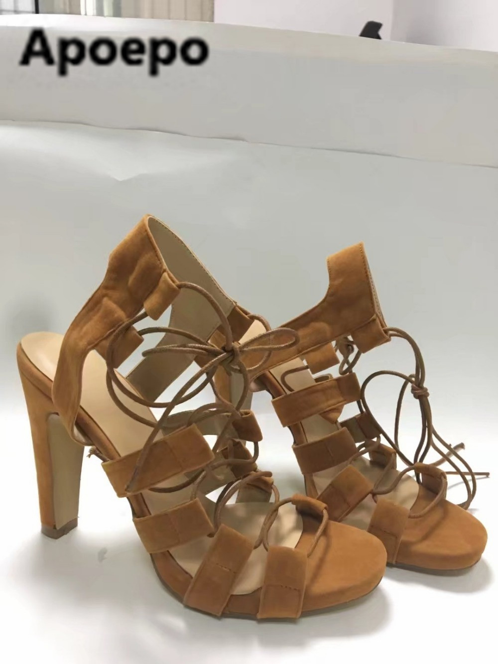 Apoepo brand New arrival khaki lace up high heels sandals women platform sexy shoes cross tied sandali eleganti donna size 42 штаны прямые billabong new order chino khaki