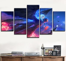 Howls Moving Castle Painting Home Decorative Wall Art 5 Panel Artistic Sky Wings  Poster Canvas HD Prints Cartoon Movie Picture