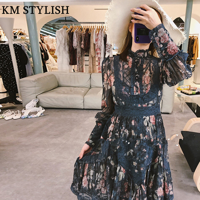 [IN STOCK] 2018 Early Autumn New Australian Tide Brand Vintage Stand Collar Print Lace Panel Chiffon Long Sleeve Dress