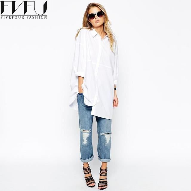 c17793c1878 Fashion 2018 Blouse Women Spring Autumn Bf Style White Shirt Women Tops  Solid Color Long Sleeve Loose Casual Blouses Plus Size