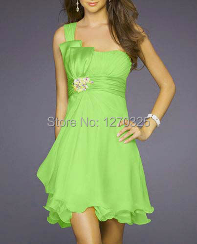 Robe demoiselle d honneur 2017 new chiffon crystal one shoulder a line Lime green bridesmaid dress
