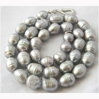 Charming Pearl Necklace,21inches 10 11mm Big Gray Rice Freshwater Pearl Necklace,Fashion Women Jewellery Gift