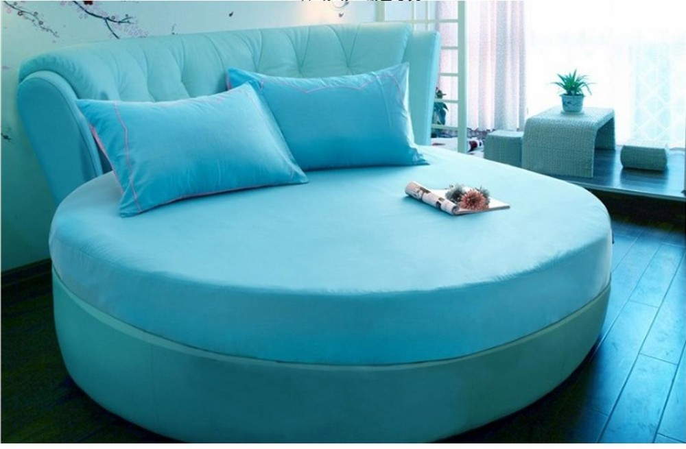 high-grade Pure color cotton round the fitted sheet bedspread mattress antiskid cases 220cm x220cm free shipping