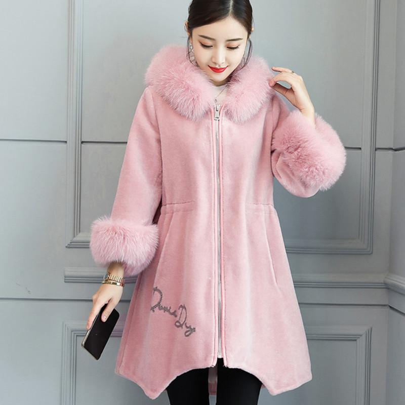 Tondus Moyen Femelle Chaud Hiver 2018 Femmes pink Longueur Black Col Mode De Fourrure Vêtements A508 À Confortable Moutons Capuche Manteau OExpp