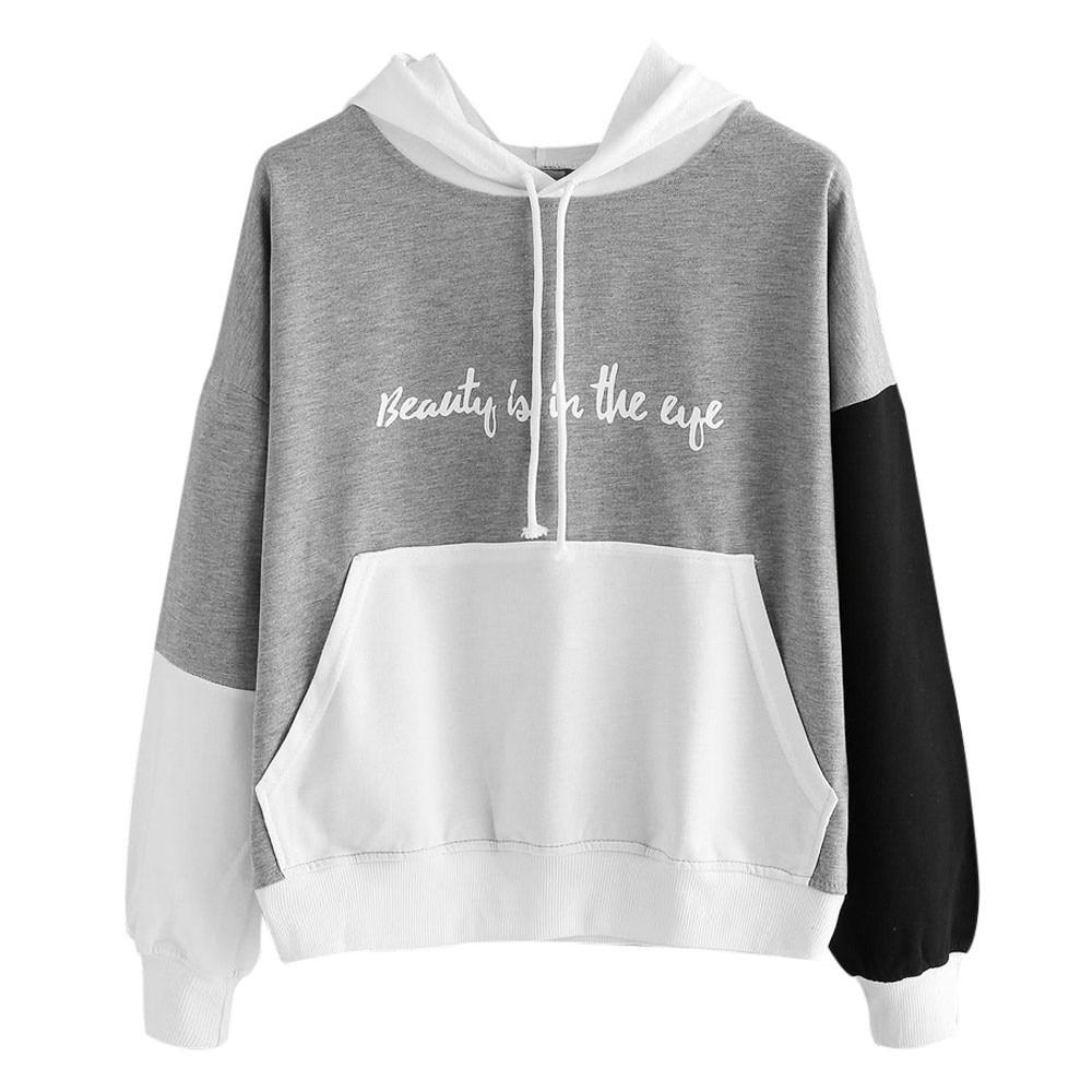 Creative Design Womens Letters tee shirt femme Long Sleeve Hoodie Sweatshirt Hooded Pullover Tops blusa feminina