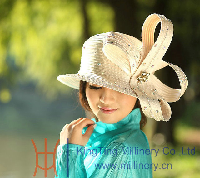 963bd5f59 US $49.9 |Free Shipping Fashion and New Women Hat Derby Church Hats Satin  Ribbon Hats Satin Bow Decorative Rhinestones Two Color Available-in Fedoras  ...