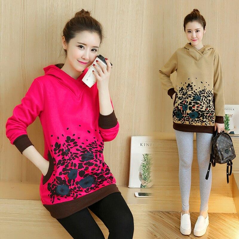 ФОТО Plus Velvet Cotton Maternity Hoodie Sweatshirt Fleece Pullover Clothing Clothes For Pregnant Women Autumn Winter Outerwear B240