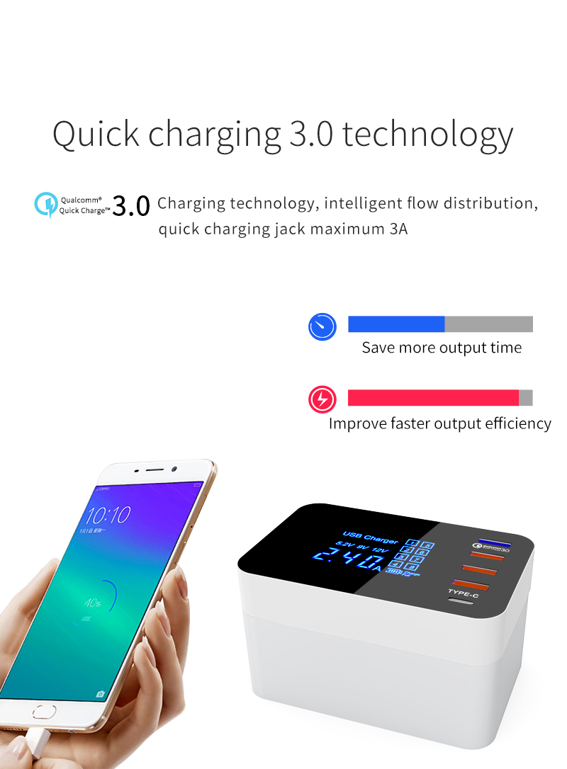 Quick Charge 3.0 Smart USB Type C Charger Station Led Display Fast Wireless Charger (8)