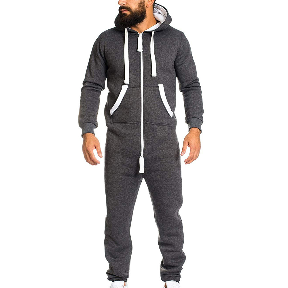 d6bd85f019f3 2018 Casual Tracksuit Jumpsuit Mens Overalls Long Sleeve Sweatshirt Hoodies  Casual Long Pants Romper For Male
