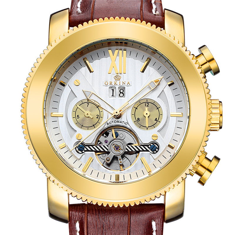 MG ORKINA Top Brand Men Watches Tourbillion Date Day Mechanical Watch Automatic Genuien Leather Wristwatch Reloj Hombre + Box mens watches top brand luxury 2017 aviator white automatic mechanical date day leather wrist watch business reloj hombre