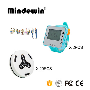 Mindewin 2017 High Quality 2PCS Watch Pager M-W-1 and 20PCS Table Call Button M-K-4 Restaurant Waiter Paging System