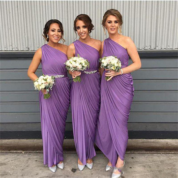 Purple One Shouler Bridesmaid Prom Gown Sash Ruffles Pleated Chiffon Maid of Honor Dress for Wedding Party Custom Made