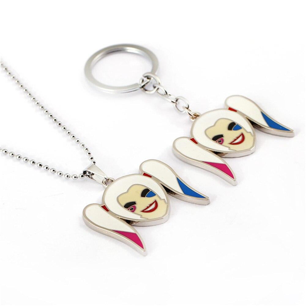 8eabaf0c1 Película suicide squad llavero Harley Quinn colgante llavero anillo titular  niño niña regalo accesorio de la joyería gargantilla collar chaveiro