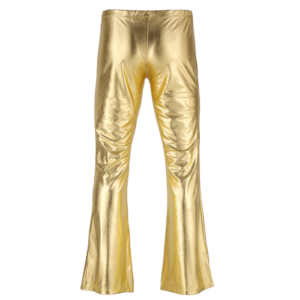 Adult Mens Moto Punk Style Party Pants Shiny Metallic Disco Pants with Bell Bottom Flared Long Pants Dude Costume Trousers 21