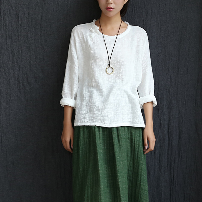 Long sleeve o neck linen blouses women chinese style loose for Linen white shirt womens