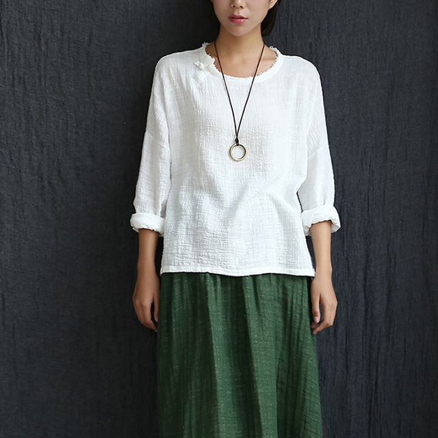 1a1f87e5 Long sleeve O-neck Linen Blouses Women Chinese style Loose Casual Shirt  Summer Solid Yellow