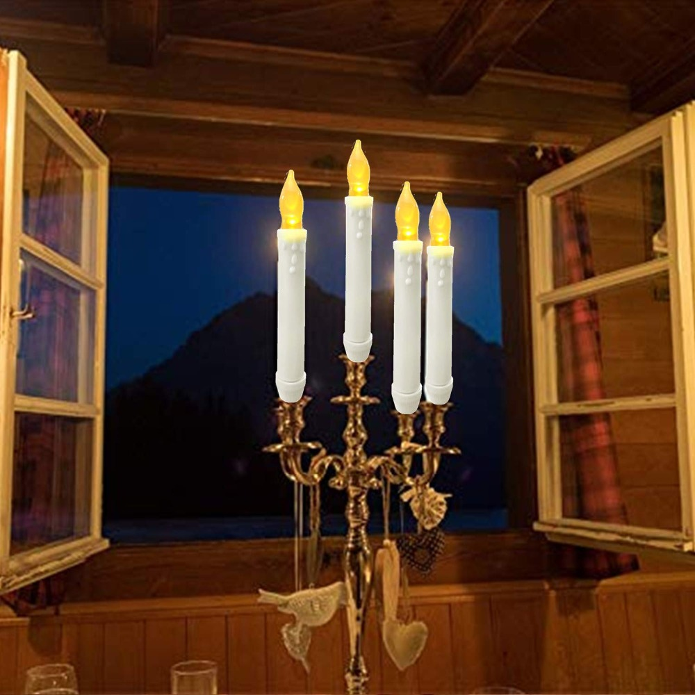 Flameless Window Taper Candles Led Battery Operated Dripless Flickering Candle Lights For Party Decorations Christ
