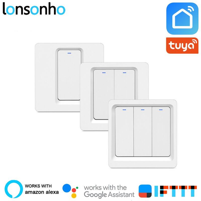Lonsonho Wifi Interruptor Inteligente 220v Interruptor Remoto de Casa Inteligente Sem Fio Interruptor de Luz Módulo Funciona Alexa Tuya Inicial do Google Inteligente vida