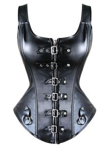 Image 1 - Womens Front Buckled Leather Bustier Corset With Bondage Rings Sexy Fetish Role Play Costume Mistress Playsuit Black