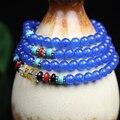 Nova moda 6 mm azul calcedônia contas tibetano budista 108 Prayer Beads colar cabaça de oração mala pulseira para meditação